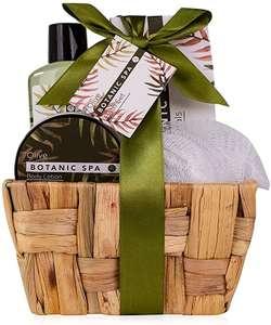 Juego de regalo de 5 piezas en cesta decorativa de junco marino, regalo de cumpleaños, set de bienestar para mujeres