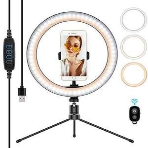 Aro de Luz LED, Trípode Giratorio, 3 Colores 10 Brillos Regulables