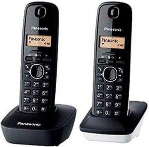 Teléfono fijo inalámbrico dúo Panasonic KX-TG1612 con identificador de llamadas, intercomunicación, tecla de navegación