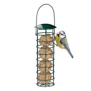 Comedero para pájaros Relaxdays, bolas de grasa para colgar en hierro y plástico