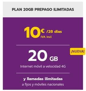 PLAN 20GB PREPAGO ILIMITADAS 10€ IVA incl. /28 días Llamaya