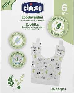 Chicco 36 Baberos Biodegradables, Impermeables, Ecológicos, Absorbentes y Desechables
