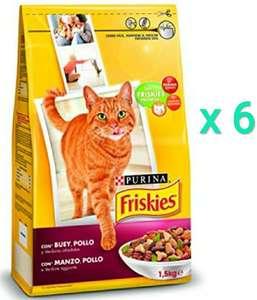 6 x 1,5 Kg (9Kg) Purina Friskies Pienso para Gato Adulto Buey, Pollo y Verduras