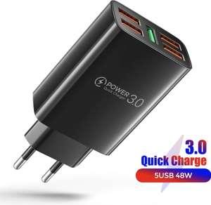 Cargador de 5 puertos 48w USB compatible con tecnologías AFC, FCP QC 3.0 QC 2.0 y Apple 2.4A