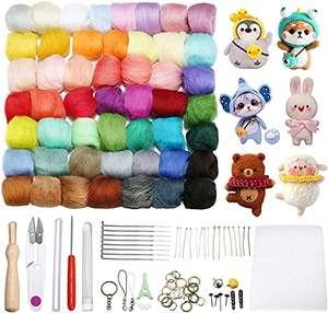 Kit de 50 colores de lana + agujas + utensilios