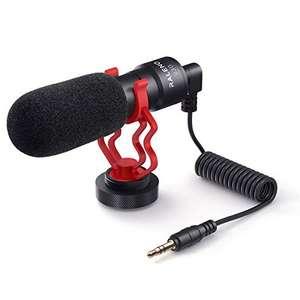 RaLeno - Micrófono para teléfono móvil con Soporte, Compatible con Smartphones, Sony, Canon y cámaras Nikon