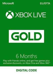 Suscripción Xbox Live Gold 6 meses Xbox Live código EUROPA