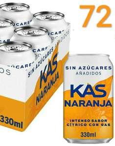 72 x 33cl Kas Naranja sin azúcares añadidos (a 0,20€ la lata) - descuento al tramitar