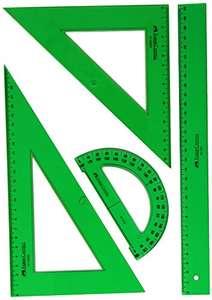 Faber Castell - Pack escolar con escuadra, cartabón, regla y semicírculo, color verde