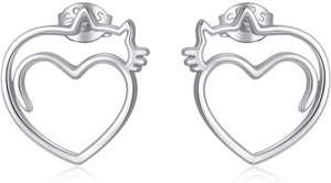 ROMANTICWORK Pendientes de gato de plata de ley 925 con forma de corazón, hipoalergénicos