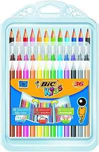BIC Kids Set Para Colorear, 12 Rotuladores, 12 Lápices de Colores, 12 Ceras