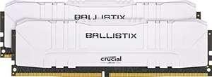 Crucial Ballistix 16GB (8Gbx2) BL2K8G30C15U4W 3000 MHz, DDR4, DRAM, CL15, Blanco