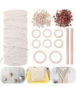 Cordel Natural de algodón,(3mmx100m)+8pcs Anillos de madera+100pcs Cuentas de madera