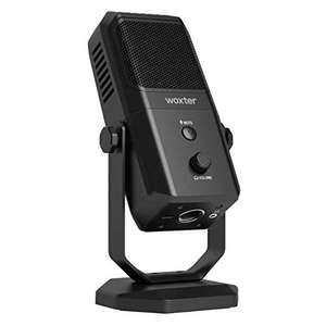 Woxter Mic Studio 100 Pro - Micrófono de condensación (Cardioide y Omni-direccional) con trípode Ajustable y tecnología Vertigain®, Negro