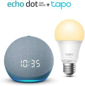 Echo Dot (4th Gen) con reloj + TP-Link Tapo Bombilla Inteligente (E27)