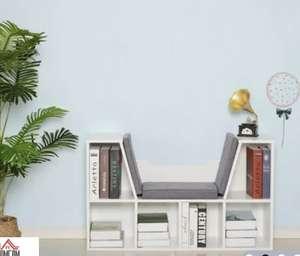 Asiento con Estanteria/Libreria 6 Cubos