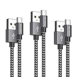 Pack 3 cables micro usb de nylon trenzado