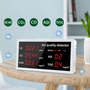 Detector de probador CO CO2 HCHO TVOC AQI Monitor de calidad del aire digital LED Analizador de gas para interiores y exteriores