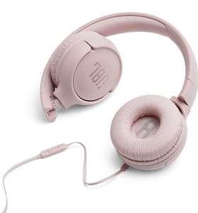 JBL Tune 500 - Auriculares supraaurales de cable y control remoto de un solo botón, micrófono incluido, asistente de voz, rosa por 17,99€