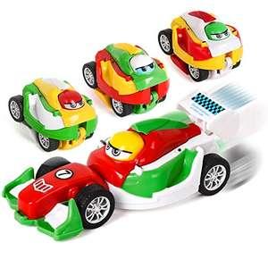 (4 unidades) Juguete Educativo Angry Bird y coche combinados. Arrojalo al suelo y se transformará en un auto de fricción