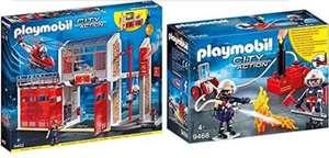 PLAYMOBIL City Action Parque De Bomberos con Efectos De Sonido + City Action Bomberos con Bomba De Agua