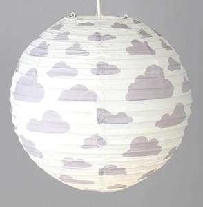 Lámpara infantil en papel de arroz con decoración de nubes (Blanco o Gris)
