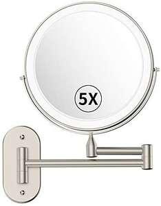 alvorog Espejo de Maquillaje con Luz LED y 1x/5x