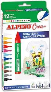 Cera Textil Alpino Crea+ - Ceras de colores 12 unidades para niños - Cera para textil - Punta 3mm