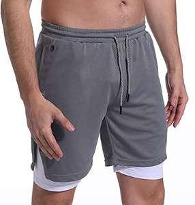 Shorts de running hombre 2 en 1 con conector auriculares