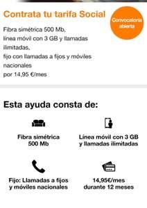 Tarifa social Orange, fibra 500 mb, fijo y móvil con 3gb y llamadas por 14,95 si eres receptor ingreso mínimo o renta mínima de inserción