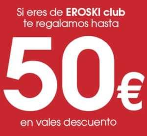 Eroski sábado 16/10: Vales gratis de 5€ por 40€ de compra/ 10€ por 75€ de compra/ 20€ por 150€ de compra y 50€ por 250€ de compra