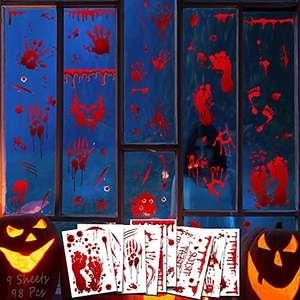 DUTISON Halloween Decoracion Terror Electricidad Estática Pegatina-Huellas de Huellas de Manos de Sangre