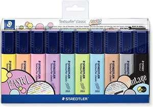 Staedtler 364 CWP10. Rotuladores fluorescentes Textsurfer Classic Pastel y Vintage. Estuche con 10 marcadores de colores variados