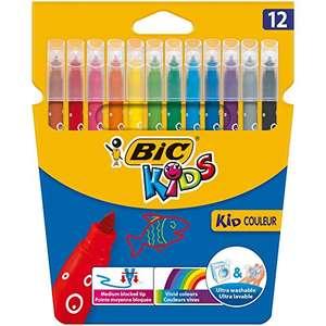BIC Kids Kid Couleur 12 unidades y STABILO Pen 68 brush - Estuche con 10 colores