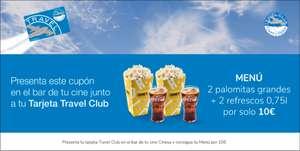 En Cinesa siendo de Travel Club por 10€ 2 Refrescos Grandes y 2 Palomitas grandes