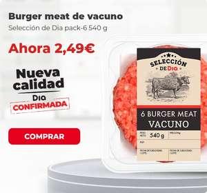 Burguer meat vacuno Dia (6 Uds.) nueva calidad