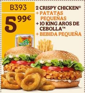 2 CRISPY CHICKEN + PATATAS PEQUEÑAS + 10 KING AROS DE CEBOLLA + BEBIDA PEQUEÑA Burger King BK