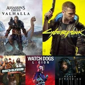 Disco Elysium 11€, Death Stranding 13€, Watch Dogs: Legion 13€, Cyberpunk 2077 RUS: 8€,Assassin's Creed Valhalla TR: 9€