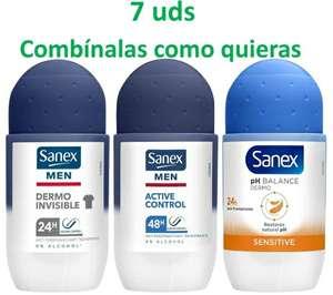 7 x desodorante Sanex roll on 50ml (3 distintos combínalos como quieras, se queda a 0,73€/deo)