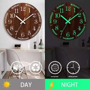 Reloj de Pared Luminoso de Madera