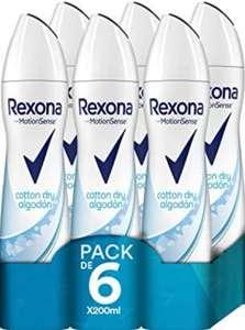 [Pack de 6 x 200 ml] Rexona Algodón Antitranspirante Aerosol