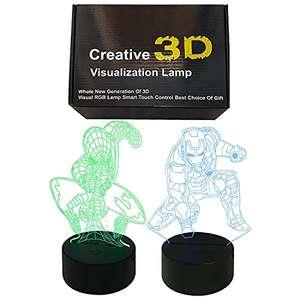 2 x 3D LED Luz noche Marvel (Spiderman + Ironman) 16 colores, Mando distancia + cargador usb