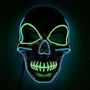 Máscara LED Halloween, 3 modos iluminación