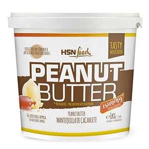 Mantequilla de Cacahuete de HSN   Textura Crujiente - Peanut Butter Crunchy - 100% Natural   Apto Vegetariano, Sin grasa de palma, Sin grasa