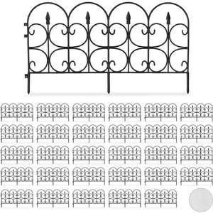 Set de 30 vallas decorativas para jardín, Altura de 30cm, Longitud de 20m, Negro