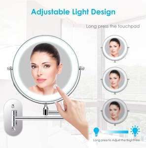 Espejo de Maquillaje con Luz LED,Espejo de Pared con Doble Cara de 360° Rotación, Luz Ajustable y 0.5h Apagado Automático para