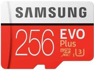 Tarjeta MicroSD - Samsung EVO Plus 256 GB, 100MB/s lectura, 90 MB/s escritura, Clase 10, Blanco