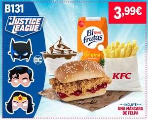 Menú peques KFC completo Justice League