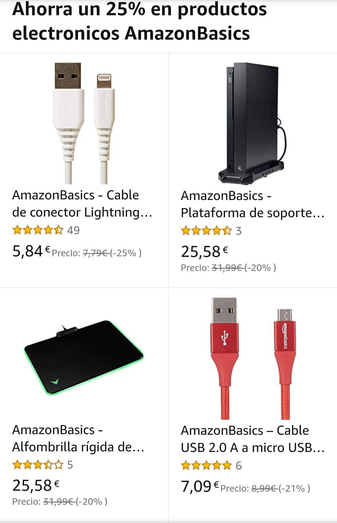 Productos Amazon Basics con un 20% de descuento