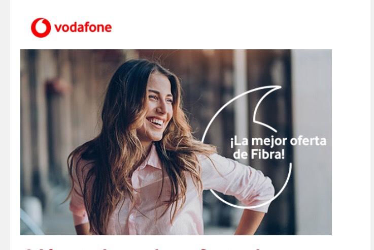 Fibra óptica 100Mb + línea móvil con 4GB + Fijo ilimitado en vodafone